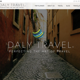Website design for Daly Travel. Site includes new features including a trip planner and blog.